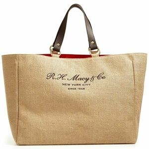 R. H. Macy's Vintage New York City NYC Jute Tote -